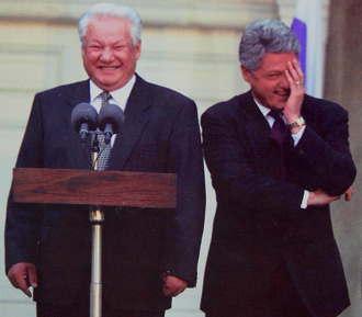 Lachen von Jelzin und Clinton