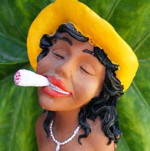 Unkreative Frau mit Joint