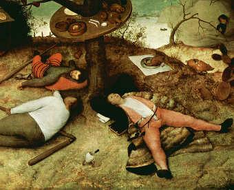 Schlafende im Schlaraffenland von Pieter Bruegel