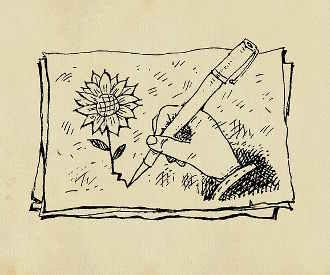 zeichnung-hand-blume